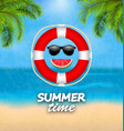 summer time background with palm leaves lifebuoy vector image vector image