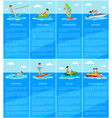 swimming and boating jet ski and banana boat vector image vector image