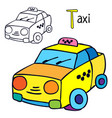 taxi coloring book page vector image vector image