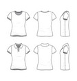 templates of female t-shirt and polo shirt vector image vector image