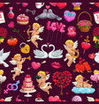 valentines day seamless pattern february 14 vector image vector image