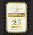 vintage gold happy birthday typography border and vector image vector image