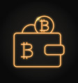 wallet with bitcoin icon in neon style vector image vector image