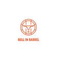bull and barrel line style beer barrel wine logo vector image