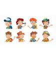 bundle cartoon children portraits vector image
