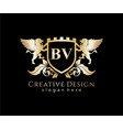 bv letter initial with lion royal logo template vector image vector image