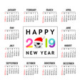 calendar new year 2019 santa hat on soccer ball vector image vector image