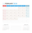 calendar planner for february 2018 vector image vector image
