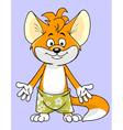 cartoon character fox in shorts vector image vector image