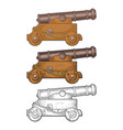 cast iron cannon on wooden carriage with wheels vector image vector image
