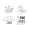 catering and food delivery service logos in sketch vector image