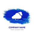 cloud lightening icon - blue watercolor background vector image