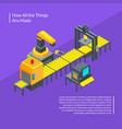 conveyors work isometric conveyor elements vector image