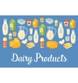 Dairy banner with natural food icons vector image vector image