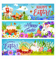 easter bunnies with eggs flowers and chicks vector image vector image