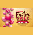 easter sale with red painted egg on vector image
