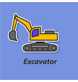 excavator color flat icon vector image vector image