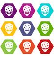 extraterrestrial alien head icon set color vector image vector image