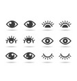eyes and eyelashs icons vector image vector image