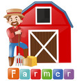 farmer standing by the barn vector image