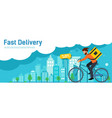 fast delivery order delivery guy walking around vector image