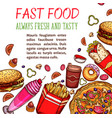 fast food restaurant snack and drink menu poster vector image vector image