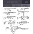 firearm set automatic rifle machine gun outline vector image vector image