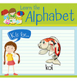 Flashcard alphabet K is for koi vector image vector image