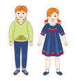 flat redhead boy and girl kids smiling vector image