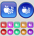 Fruits web icons sign A set of twelve vintage vector image