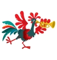 Funny rooster plays the trumpet vector image