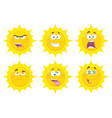 funny yellow sun character collection - 3 vector image vector image