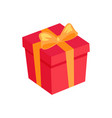 gift box icon with golden bow and ribbon isolated vector image vector image