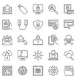 hacker and computer virus outline icons set vector image vector image