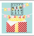 Happy new year 2017 card with chicken 1 vector image vector image