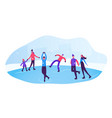 happy people wearing warm clothes skating on vector image vector image