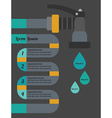 Info graphic water hose and drops close up icons vector image