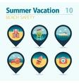 Lifeguard beach safety pin map icon set Vacation vector image vector image