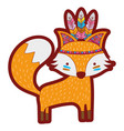 line color cute fox animal with feathers design vector image vector image