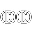 logo sign dc and cd icon sign two interlaced vector image vector image