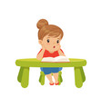 lovely little girl character sitting at the table vector image vector image