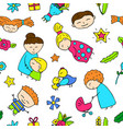 mother day happy children and mom seamless pattern vector image