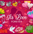 newlywed couple and frame wedding attributes vector image