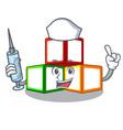 nurse toy blocks cube blank cartoon wooden vector image