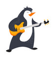 penguin playing guitar and animal with music vector image vector image