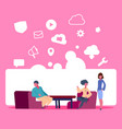 people sitting workspace online data cloud vector image