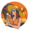 retro design summer girl vector image vector image
