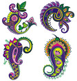 set of paisley elements with flowers vector image vector image