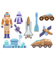 spacecrafts colony building rocket cosmonaut in vector image