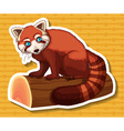 Sticker of brown raccoon on log vector image